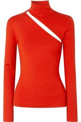 Dion Lee Cutout Wool Blend Top Tomato Red