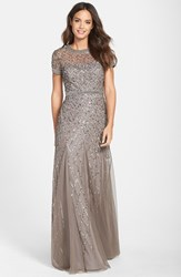 Women's Adrianna Papell Beaded Mesh Gown Lead