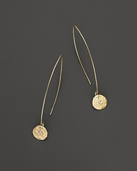 Meira T 14K Yellow Gold Open Hoop With Hanging Disc Earrings