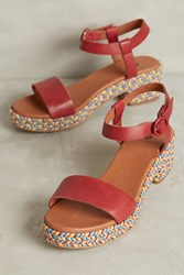 Anthropologie Hudson Aruba Espadrille Platform Sandals Red
