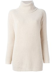 Woolrich Ribbed Turtleneck Jumper Nude And Neutrals