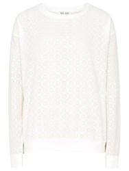 Reiss Emanuela Sweat Lace Top Off White
