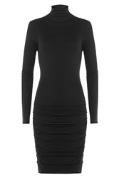 Velvet Cotton Turtleneck Dress Black