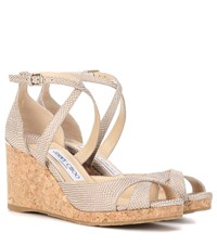 Jimmy Choo Alanah 80 Leather Wedge Sandals Neutrals