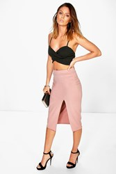 Boohoo Scuba Thigh Split Midi Skirt Rose