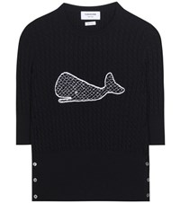 Thom Browne Knitted Wool Sweater Blue