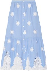Miguelina Adrienne Broderie Anglaise Cotton Midi Skirt Light Blue