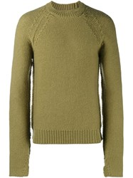 Maison Martin Margiela Ribbed Crew Neck Sweater Yellow And Orange