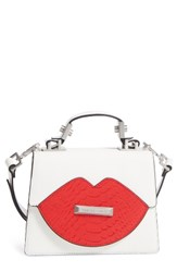 Kendall Kylie Lips Leather Satchel White