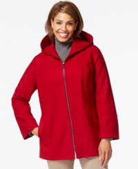 London Fog Plus Size Hooded Zipper Front Coat Red