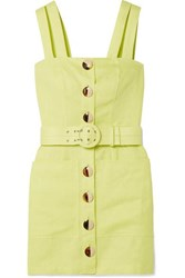 Nicholas Belted Linen Mini Dress Chartreuse