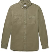 Saturdays Surf Nyc Angus Button Down Collar Broken Cotton Twill Shirt Green