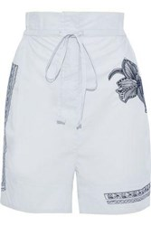 Acne Studios Woman Maurice Gathered Embroidered Cotton Poplin Shorts Sky Blue