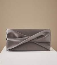 Reiss Baby Beau Satin Clutch Bag In Grey