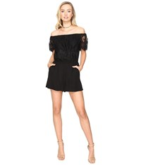 Bb Dakota Charisse Lace Detailed Romper Black Women's Jumpsuit And Rompers One Piece