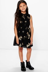 Boohoo Butterfly Print Chiffon Party Dress Black