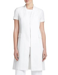 Lafayette 148 New York Courtly Cotton Linen Leticia Vest White