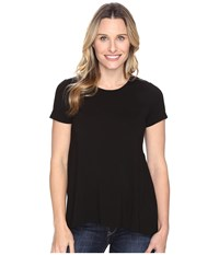 Vince Camuto Short Sleeve High Low Hem Top With Woven Back Rich Black Women's Clothing