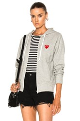 Comme Des Garcons Play Zip Up Cotton Hoodie With Red Emblem In Gray