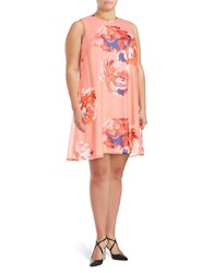 Calvin Klein Plus Sleeveless Floral Swing Dress Coral Multicolor