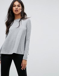 Boohoo Basic Long Sleeve Top In Gray Gray