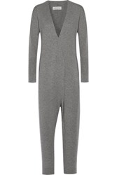 By Malene Birger Inoqa Wrap Effect Wool And Cashmere Blend Jumpsuit Gray