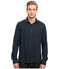 Threads For Thought Justin Flannel Plaid Long Sleeve Woven Blue Green Men's Clothing