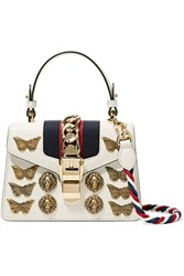 Gucci Sylvie Mini Embellished Chain Trimmed Leather And Canvas Shoulder Bag White