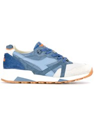 Diadora Heritage Running Sneakers Men Cotton Leather Nylon Rubber 44 Blue