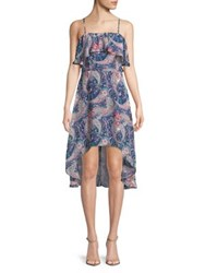 Design Lab Lord And Taylor Paisley Hi Lo Dress Navy Multi