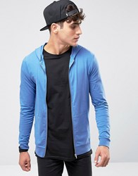 Asos Muscle Zip Up Hoodie In Blue Dory Summer Haze