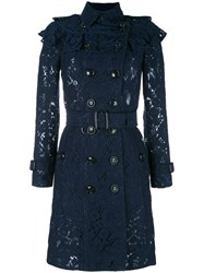 Burberry Embroidered Double Breasted Coat Blue