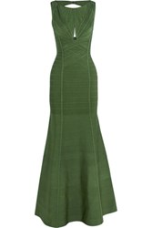 Herve Leger Cutout Bandage Gown Forest Green