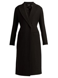 Ann Demeulemeester Satin Trim Wool Blend Coat Black