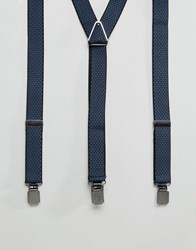 Peter Werth Braces In Navy Jacquard Blue