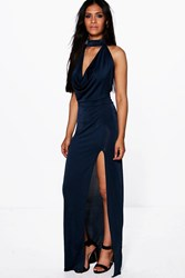 Boohoo Gemma High Neck Slinky Cowl Maxi Dress Navy