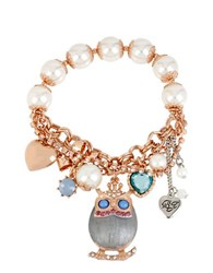 Betsey Johnson Owl And Faux Pearl Charm Bracelet Blue