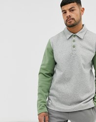 Native Youth Long Sleeve Polo In Grey With Contrast Sleeve In Green