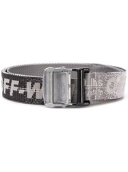 Off White Distressed Industrial Logo Belt Grey
