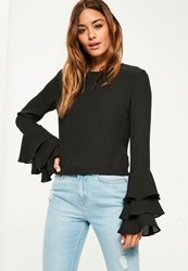 Missguided Black Chiffon Frill Sleeve Blouse
