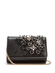 Lanvin Crystal Embellished Leather Clutch Black