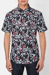 Men's 7 Diamonds 'Ignition' Trim Fit Short Sleeve Print Woven Shirt Black Multi