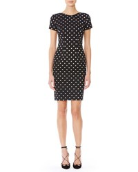 Carolina Herrera Short Sleeve Polka Dot Sheath Dress Black White