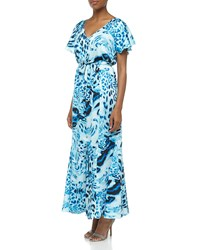 Laundry By Shelli Segal Ruffled Swirling Leopard Print Maxi Dress Blue Beret