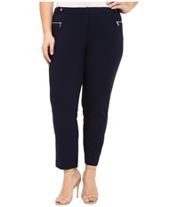 Calvin Klein Plus Plus Size Straight Pants W Buck Zip Twilight Women's Casual Pants Blue