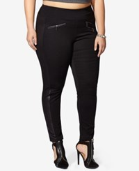 Mblm By Tess Holliday Trendy Plus Size Shimmer Tuxedo Leggings Black