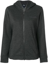 Armani Jeans Signature Embroidery Zipped Hoodie Cotton Polyester Grey