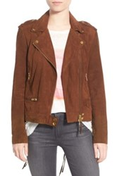 Pam And Gela Lace Back Suede Moto Jacket Metallic