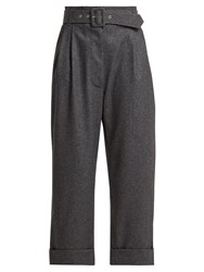 Isa Arfen Belted Cropped Wool Trousers Dark Grey