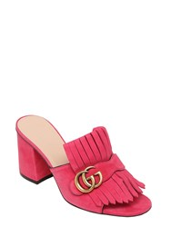 Gucci 75Mm Marmont Gg Fringed Suede Mules